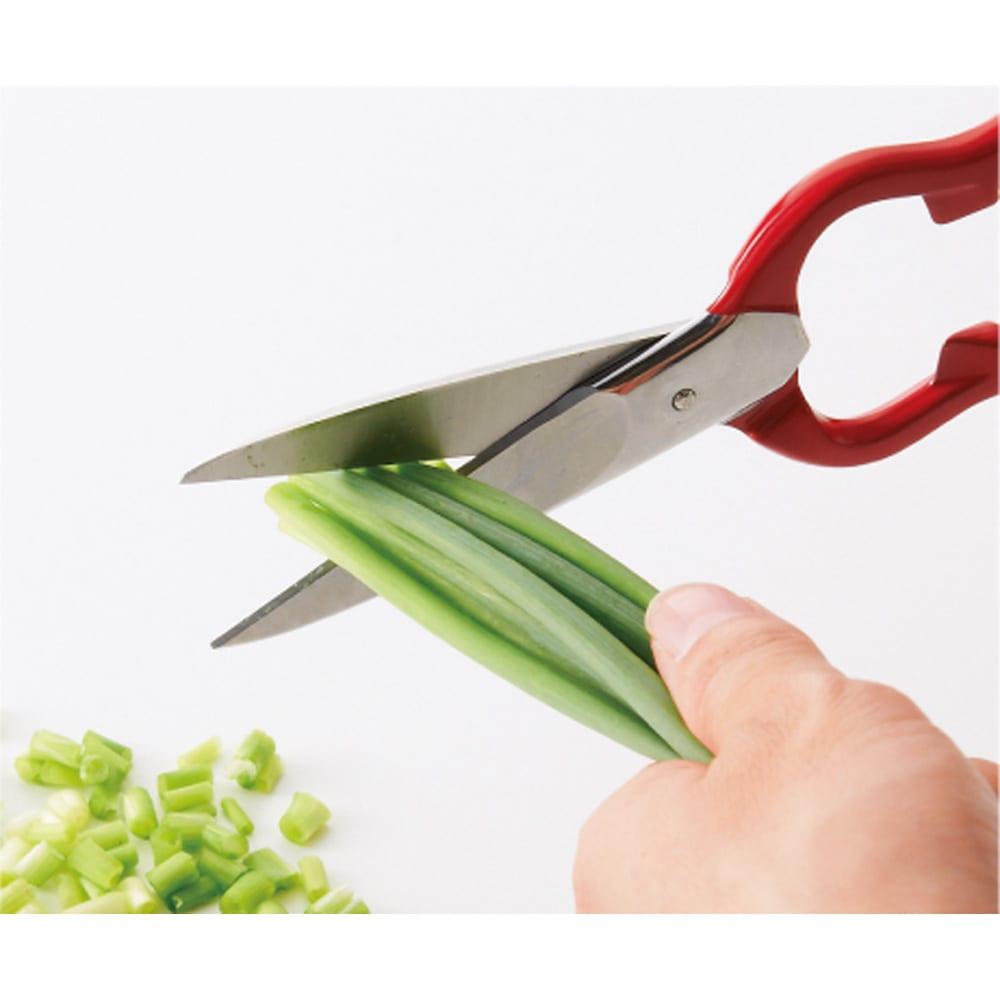 ツインクラシック 料理バサミ 細ねぎやハーブはハサミで。まな板と包丁で切るよりずっとラク。