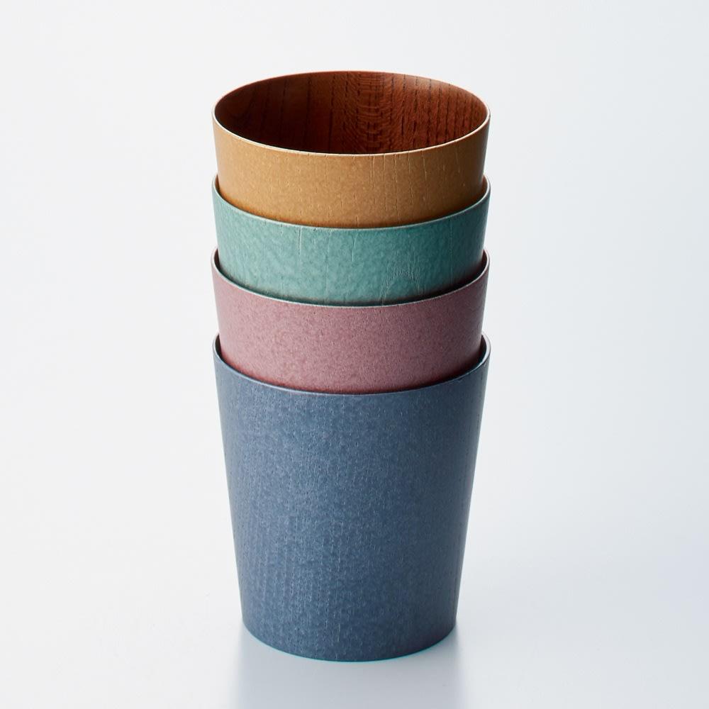 けやきのカップ 「うつろい」 山中漆器 同じサイズは重ねて収納できます。