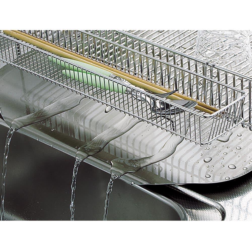 有元葉子のラバーゼ オールステンレス製水切りカゴセット 縦置き 大サイズ 流れるトレーで水切れ抜群。 水がそのままシンクに流れる傾斜型トレー。底に水がたまらず清潔に使えます。