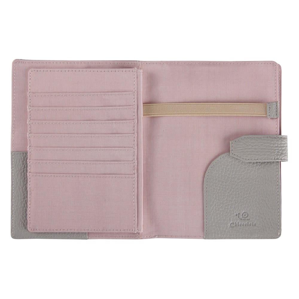 イタリアンレザーのお薬手帳ケース (ア)グレー※内側は可愛いピンクです。