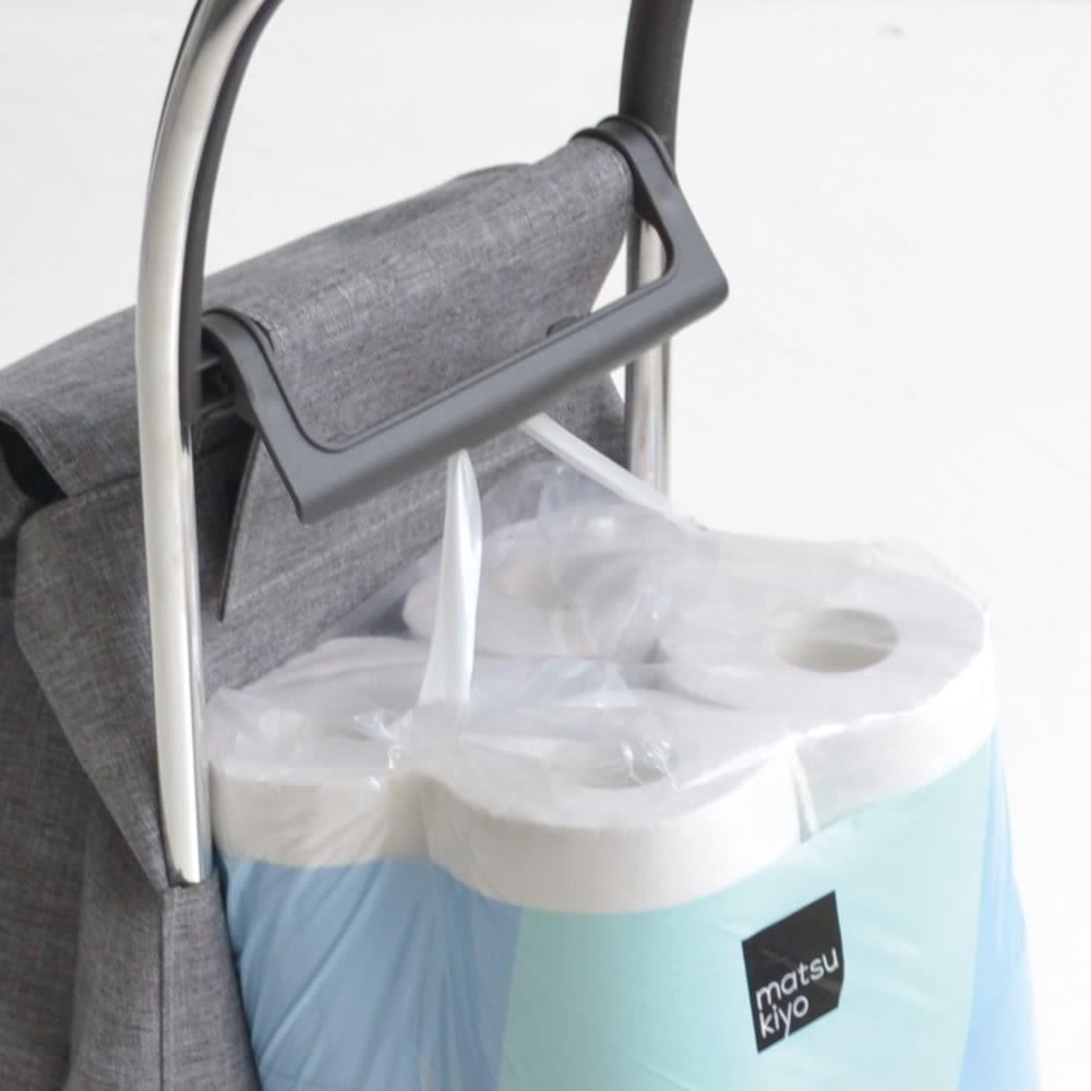 ロルサー ショッピングカート b.バッグやティッシュを掛けられるフック付き。