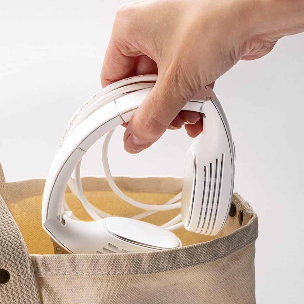 パーソナルネッククーラー 折りたためる構造なので持ち運びもコンパクト。