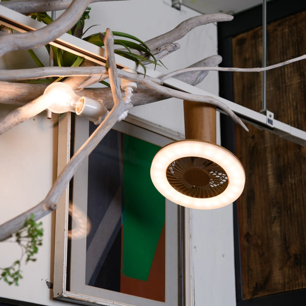 LEDスマートシーリングファン ミニ木目 使用イメージ (エ)本体ナチュラル×照明電球色