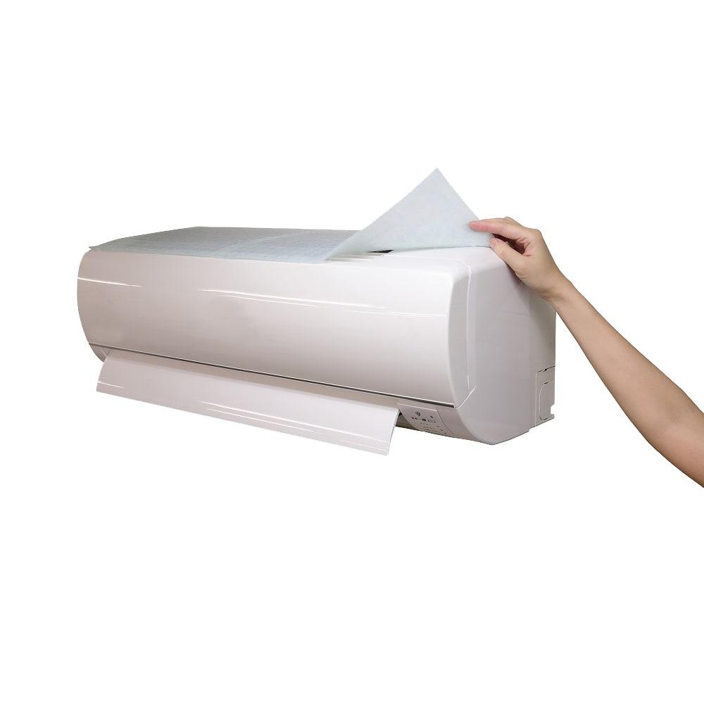 エアコン用除菌・消臭フィルター「ホワイトプラチナム」6枚セット ※面テープでエアコンに取り付けるだけ。設置も取り外しも簡単です。