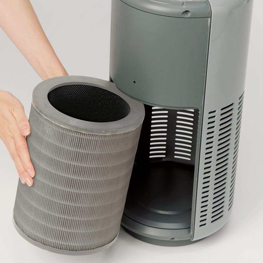 cado空気清浄機 フィルター交換もパネルを外して取り出すだけなのでカンタン。
