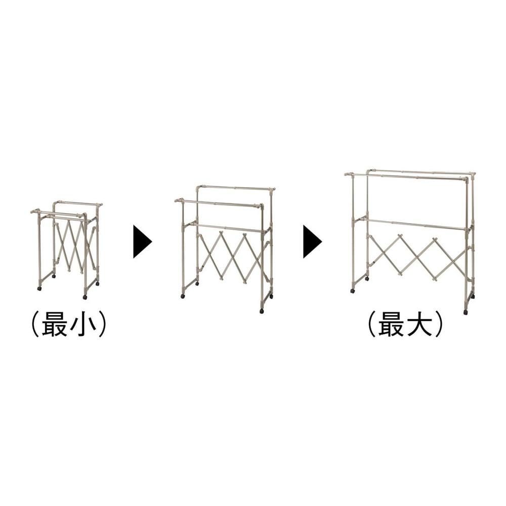 ミニマムビッグ物干し シルバー・キャスター付(室内用) 左から(ア)シャンパンゴールド (イ)シルバー 幅は140cmまで、バーの高さは前後それぞれ別々に調整できます。