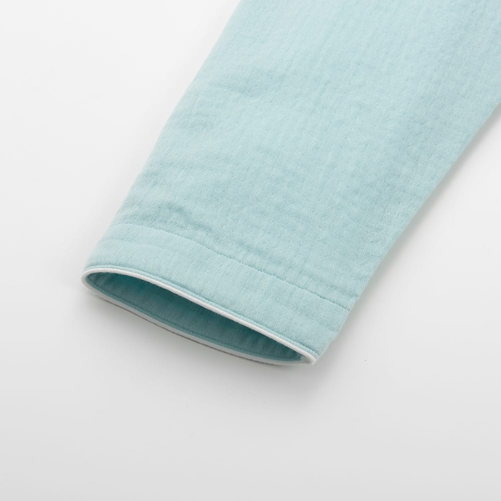 マシュマロガーゼ(R)シリーズ ギャザーワンピース (イ)ライトグリーン 袖口にはパイピング