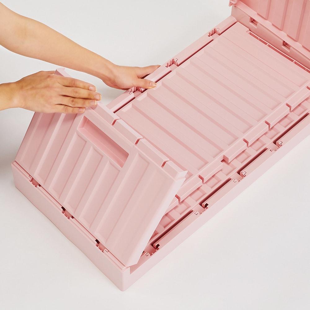コンテナストレージボックス 横開きタイプ単品 薄くたためて持ち運びも簡単だから、アウトドアにも便利です。