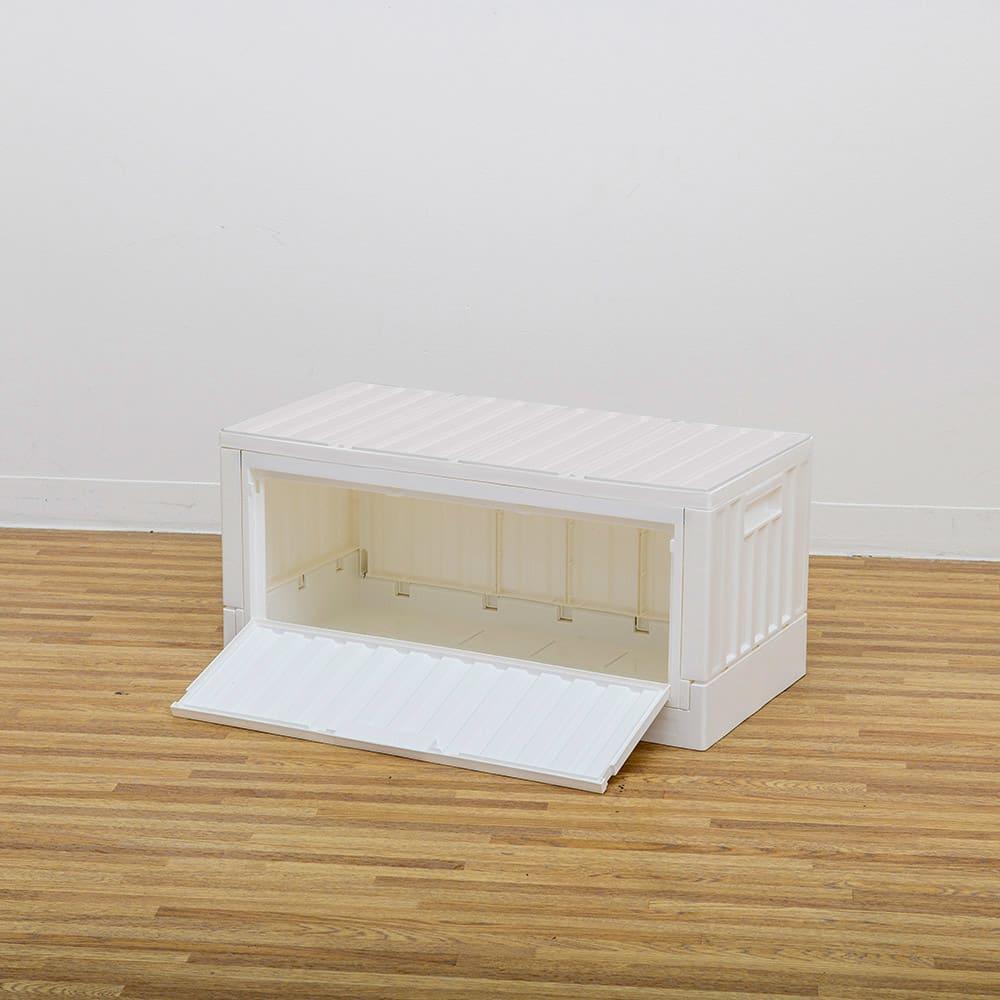 コンテナストレージボックス 横開きタイプ単品 (イ)ホワイト 側面オープン時