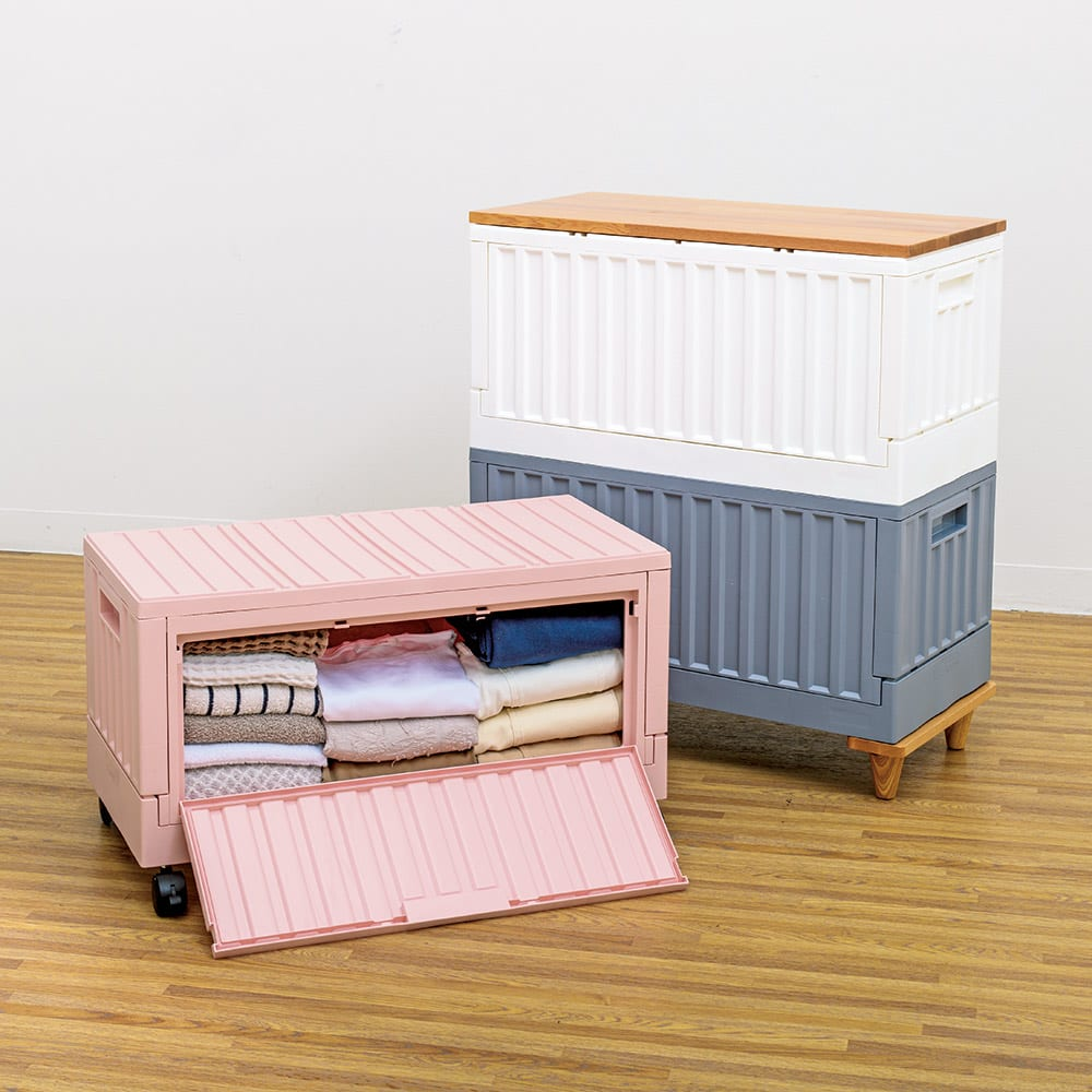 コンテナストレージボックス 専用天板&木製脚セット 使用例 ※お届けは専用天板&木製脚のみです。
