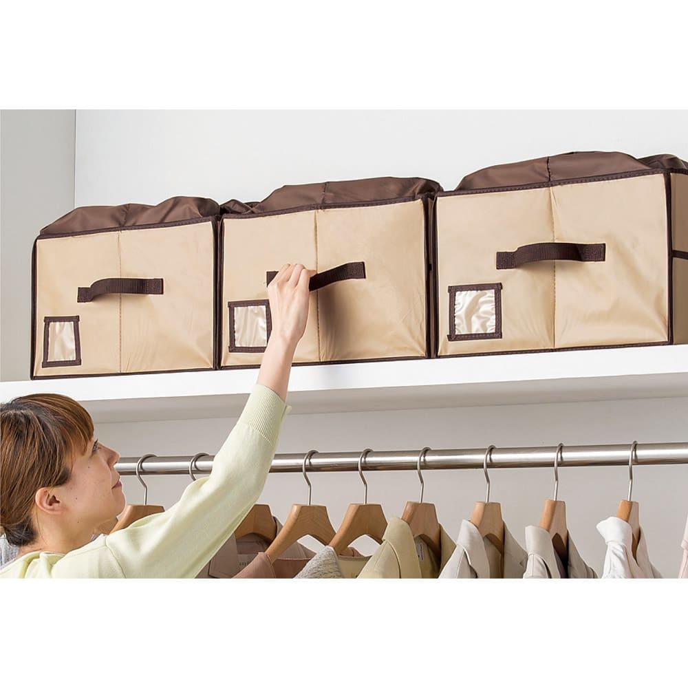 除湿&消臭 バッグ収納ボックス (イ)ベージュ 持ち手付きだから、棚上に置いても取り出しやすい。揃えて置けば見た目もスッキリ!