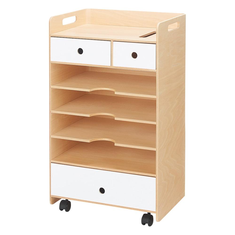 北欧風曲げ木ワゴンシリーズ 書類・ファイル収納ワゴン (ア)ホワイト