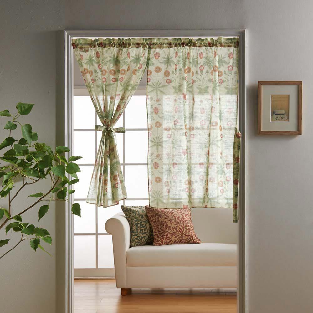 モリス柄モチーフのれん デイジーシアー・グリーン ※写真は幅145丈90cmです。