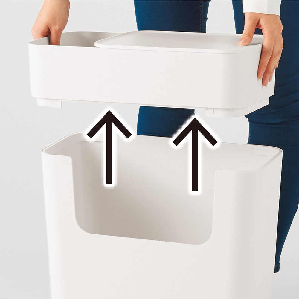 ENOTS/エノッツ マルチサイドワゴン[I'mD/アイムディー] 上段のボックストレーが外せるので、大きなものも収納しやすい。