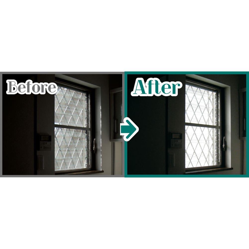 プライバシー対策に 格子窓専用カバー「サンシャインウォール」組立式 すだれ等を掛けることで暗くなりがちだった室内も、サンシャインウォールなら格段に快適に。表面の無数のパンチ孔から漏れる光を裏面の樹脂パネルで拡散することで、直射日光を遮りながら室内の明るさをアップします。