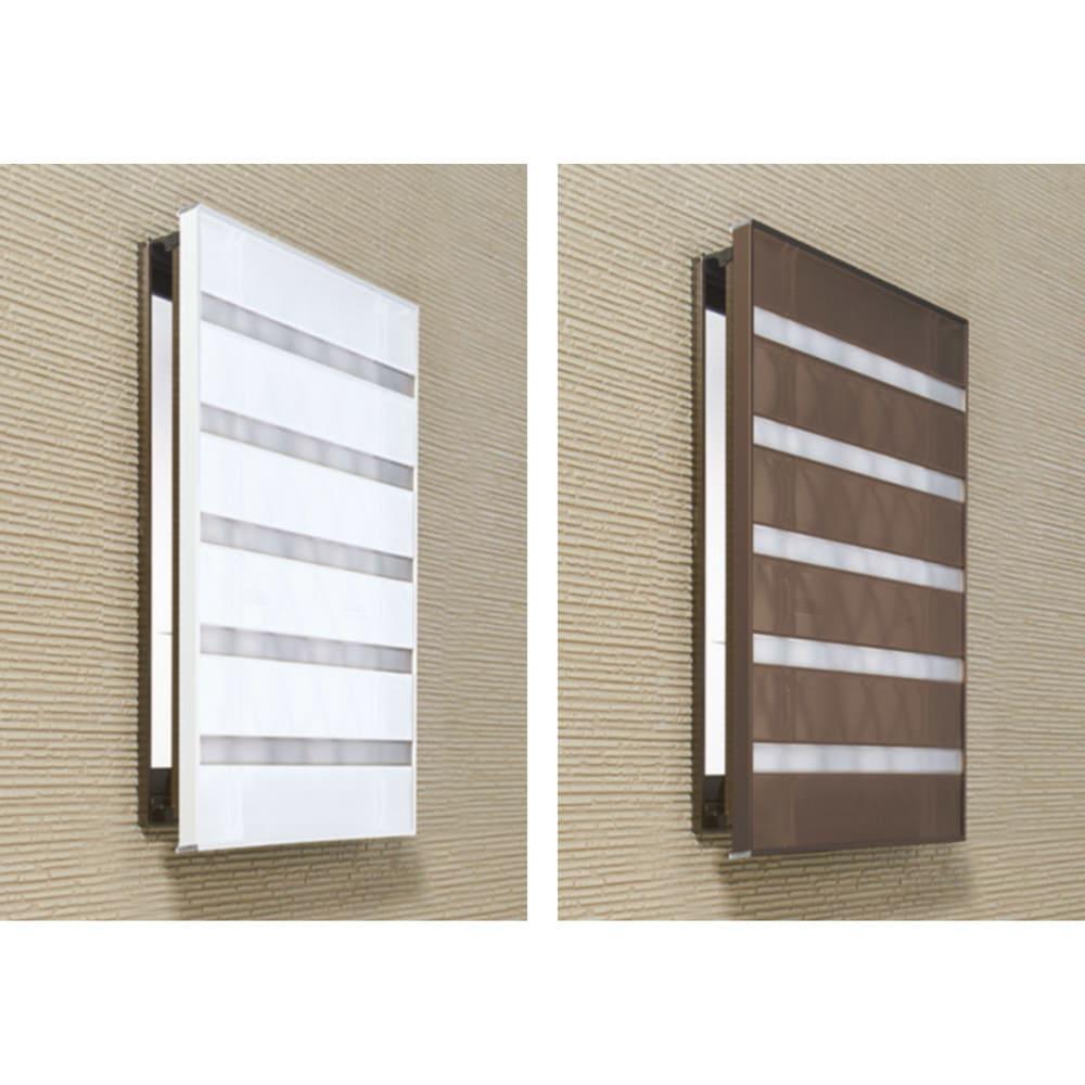 プライバシー対策に 格子窓専用カバー「サンシャインウォール」組立式 左から(イ)ホワイト(ウ)ダークブラウン