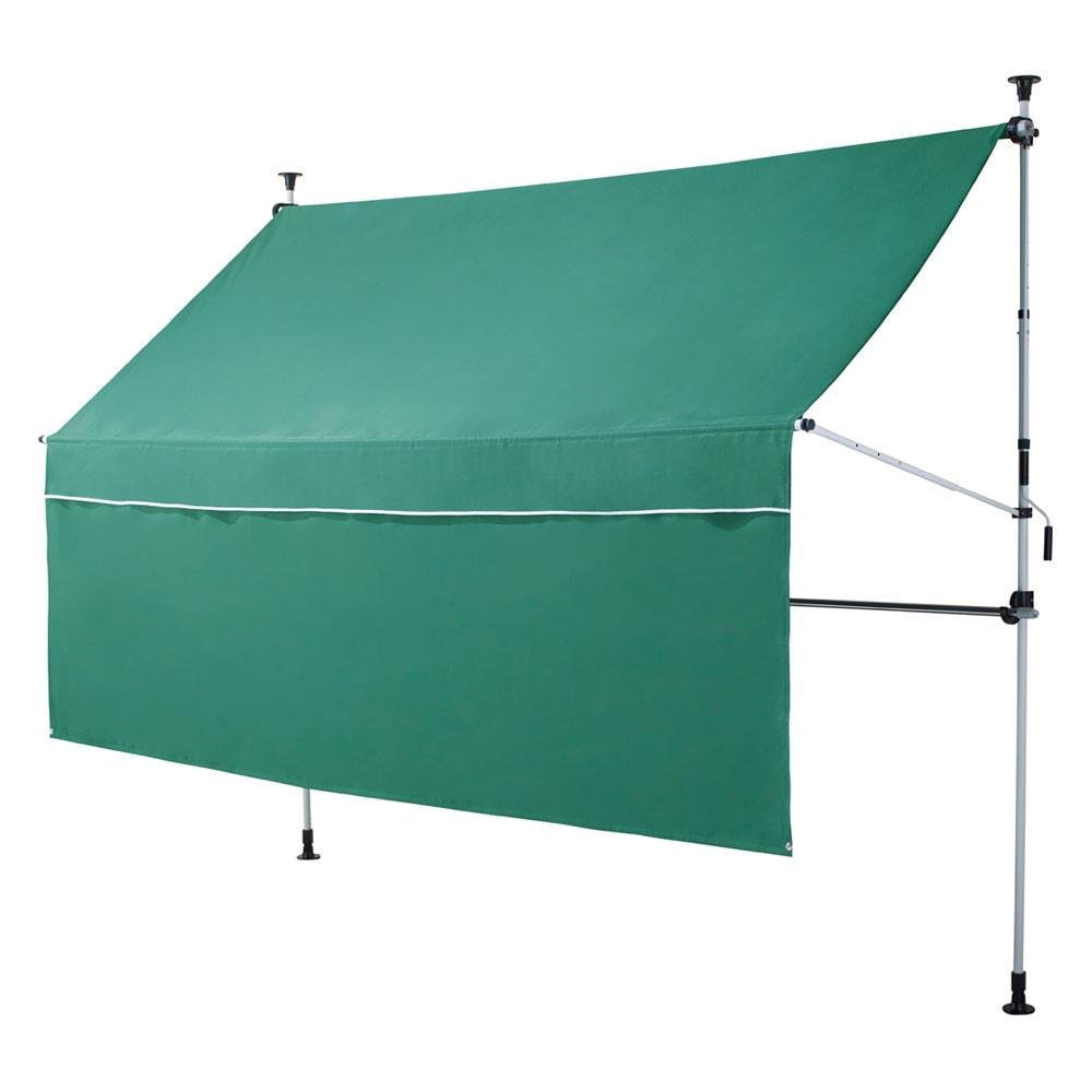 物干し竿&目隠し前幕付き 突っ張りオーニング 本体幅303cm (ア)グリーン 前幕は面ファスナーで取り外し可能。