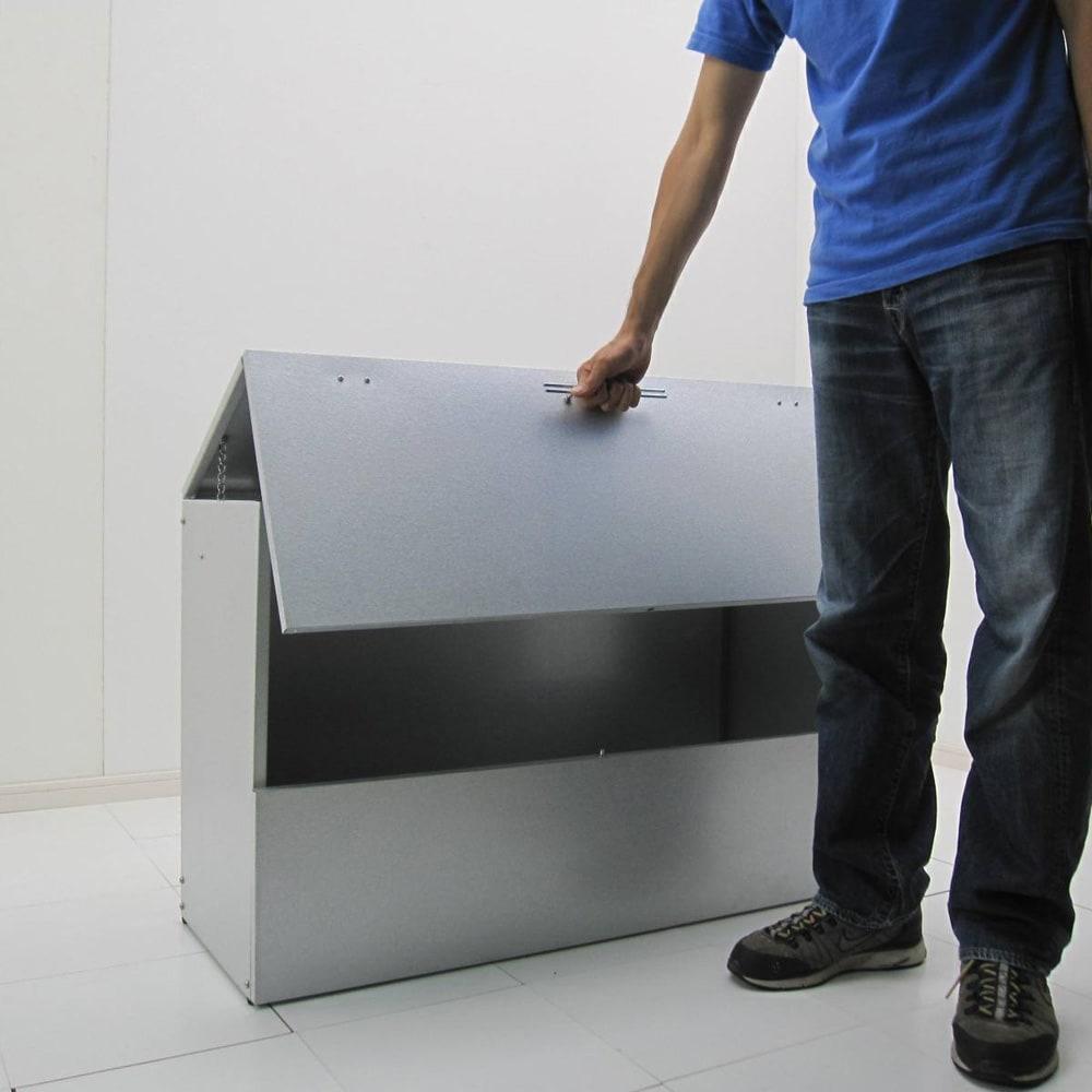 大きく開くガルバ製ゴミ保管庫 幅100奥行55cm ※写真は奥37タイプ