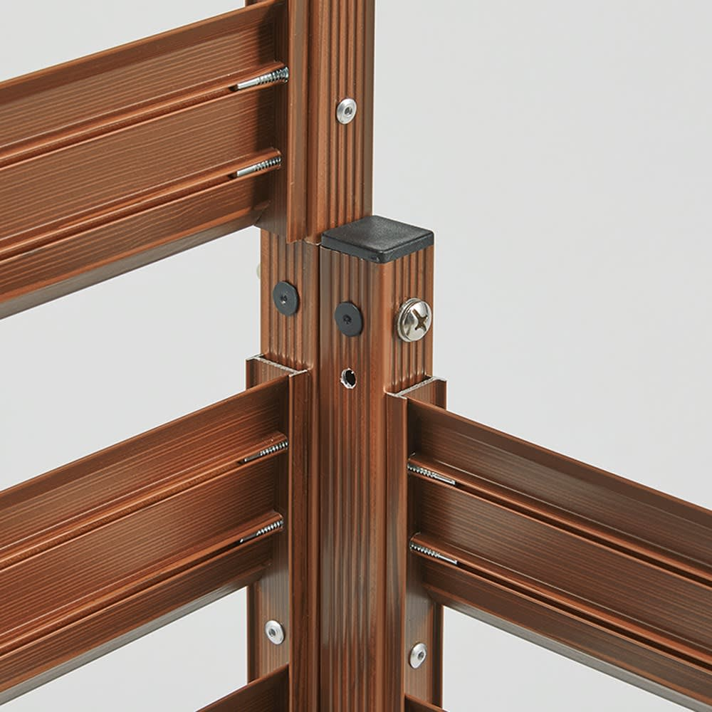 簡単リフォーム 木目調アルミボーダーフェンス スーパーハイタイプ 幅90高さ180cm(お得な2枚組) フェンス同士を付属部品で連結、直線にもL字型にも対応。