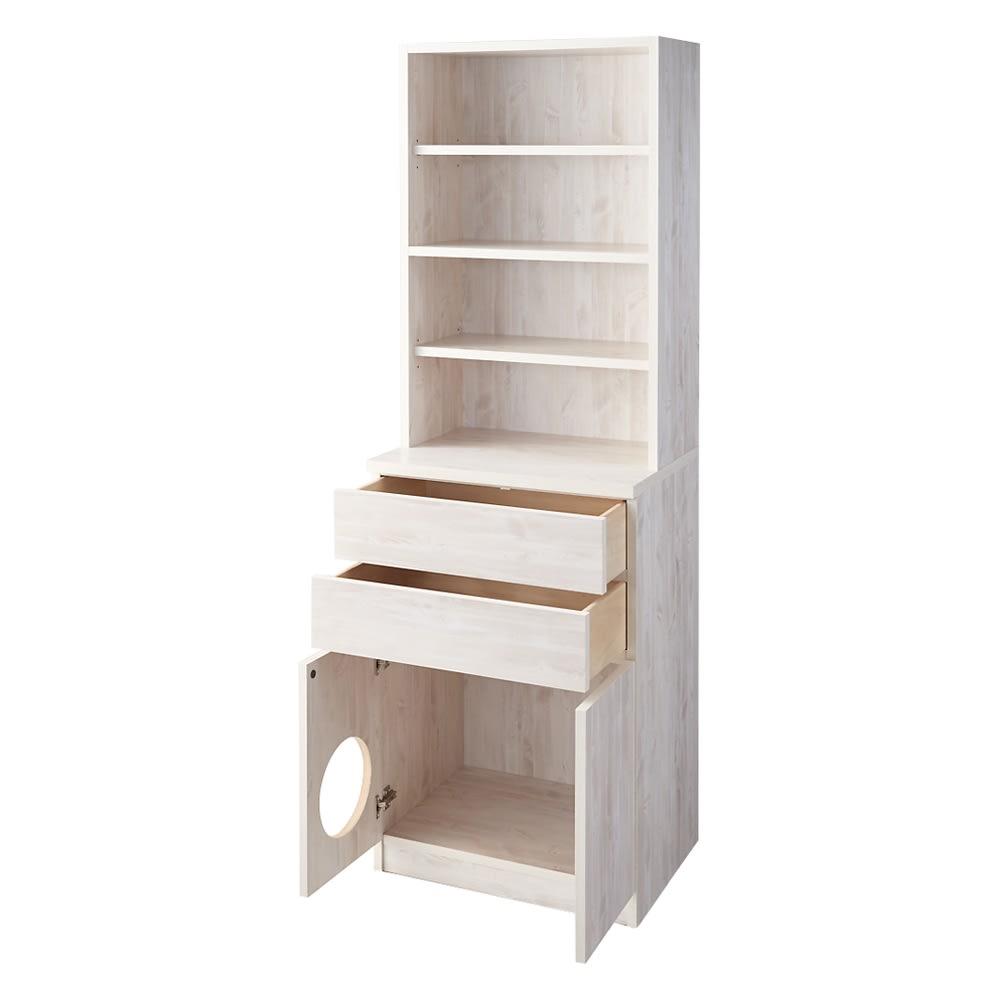 ネコ用トイレやベッドを置けるスペース付き リビング収納庫 幅60.5cm奥行45.5cm高さ180cm (ア)ホワイト(木目)