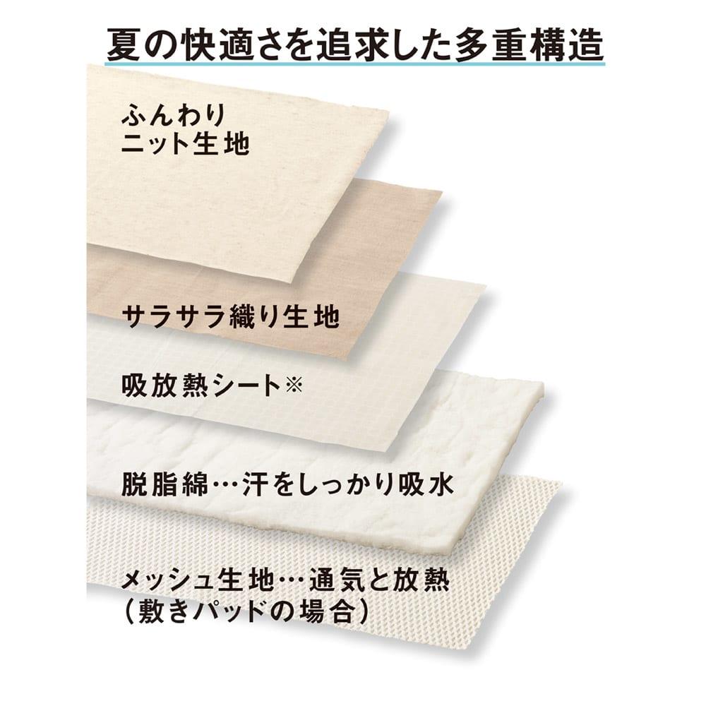 【2019年モデル】長く続く清涼感 麻混ナガークールシリーズ サラサラ織りタイプ 敷きパッド 自分好みの涼しさが長続き
