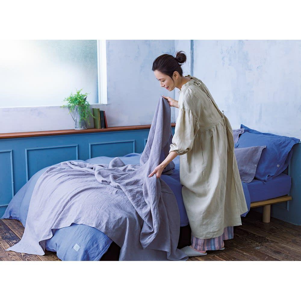 【LINEN & BASIC/リネン&ベーシック】リネン100%カバーリング 掛け布団カバー コーディネート例(ウ)ブルー ※お届けは掛けカバーです。