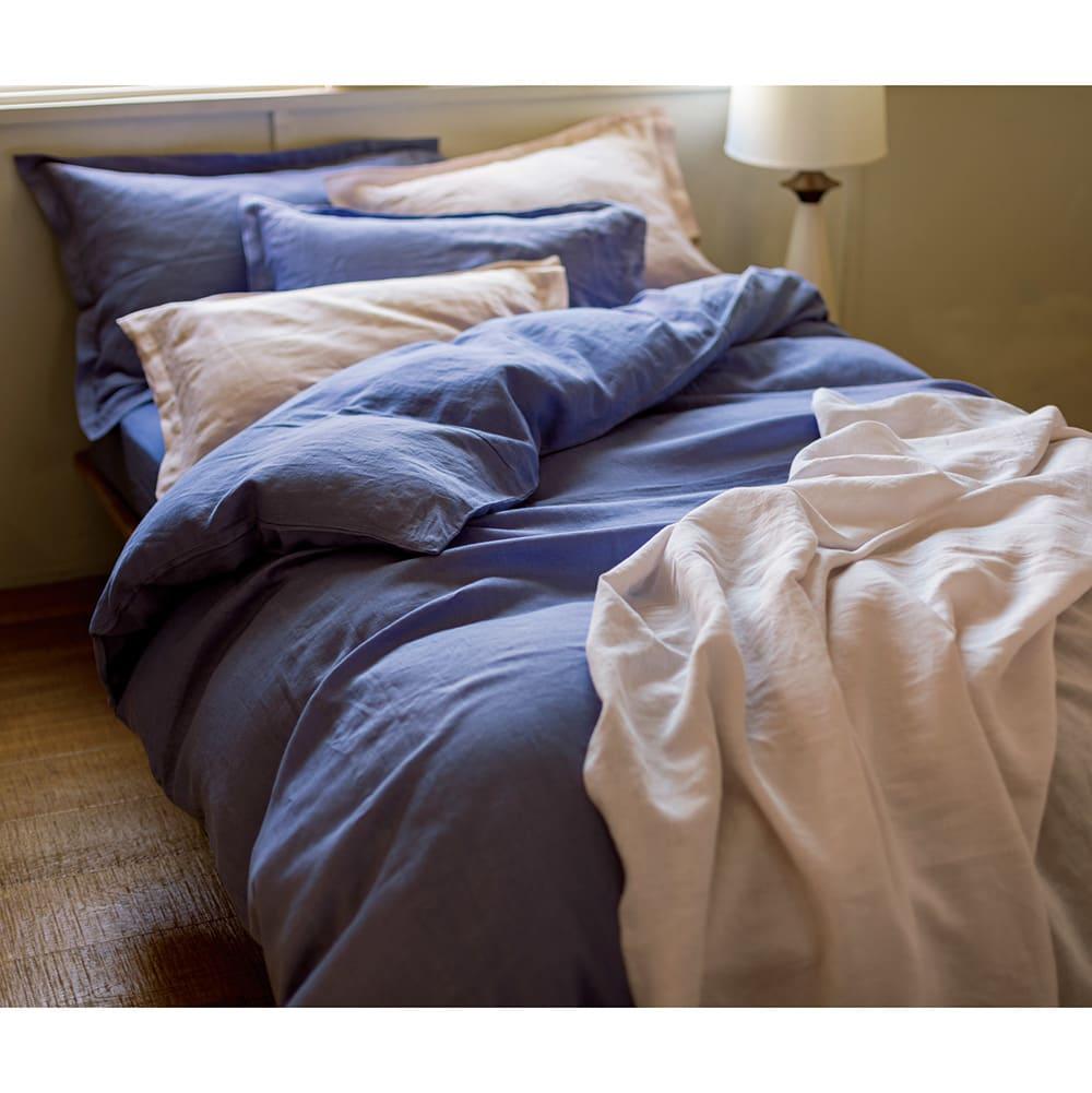 【LINEN & BASIC/リネン&ベーシック】リネン100%カバーリング 掛け布団カバー コーディネート例 (ウ)ブルー ※お届けは掛布団カバーになります。