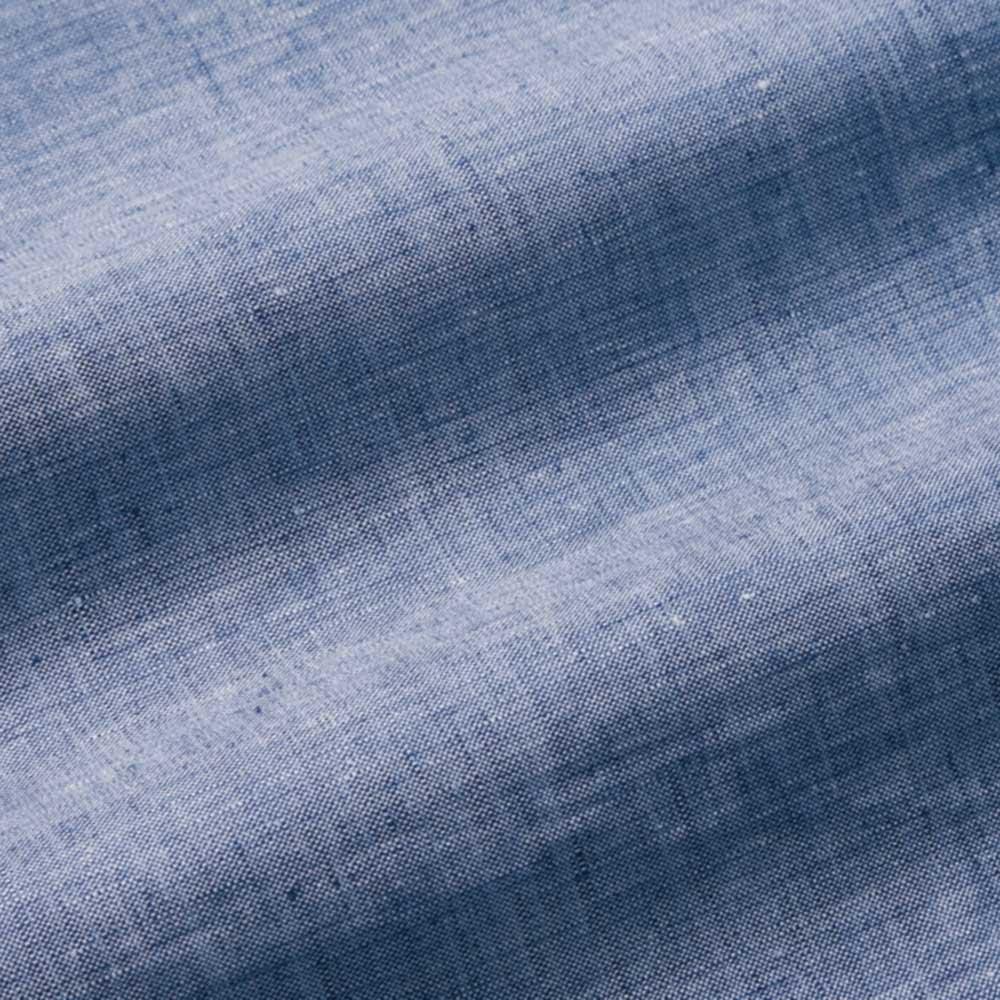 リネンのハーフダウンケット(おなかケット) (ア)ブルー リネン100%のシャンブレー生地。良質なリネン糸を、先染めで織り上げたシャンブレー生地。色の濃淡が美しく、さらりとしながらも、なめらかな肌ざわり。
