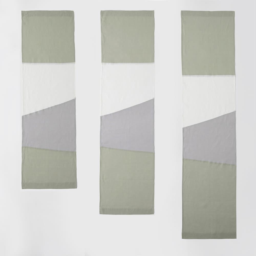 【LINEN & BASIC/リネン&ベーシック】 リネンのれん(1枚) 幅約45cm ポジャギ風(パッチワークタイプ) (ア)グリーン系 左からサイズ:丈150cm、170cm、190cm