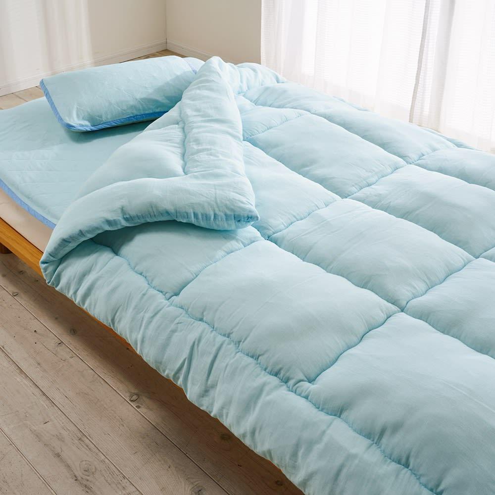 テンセルTM &ガーゼ寝具シリーズ さらさら敷きパッド (イ)ブルー コーディネート例 ※お届けは敷きパッドのみとなります。