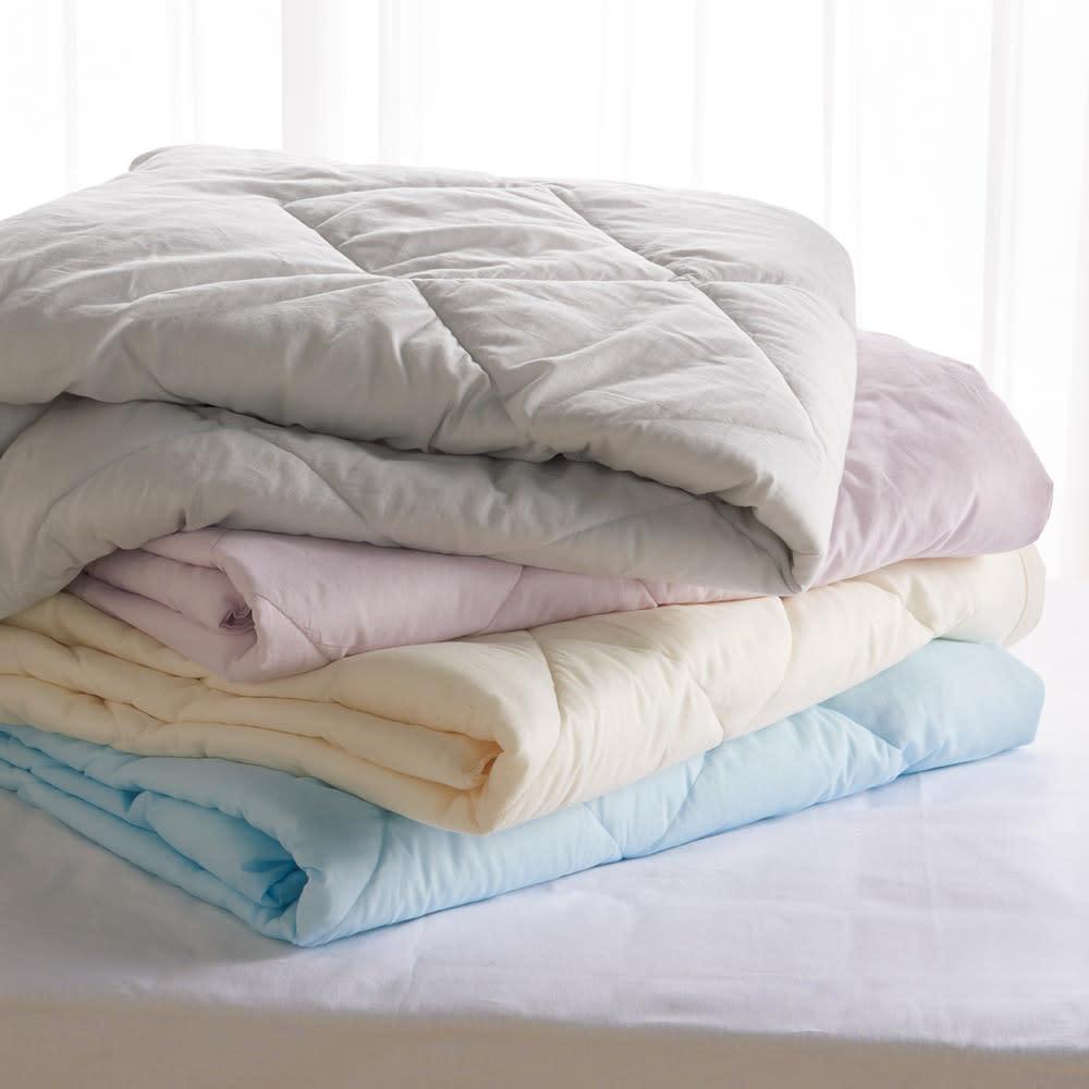テンセルTM &ガーゼ寝具シリーズ お得な掛け敷きセット(コンフォーター+敷きパッド+ピローパッド) 上から(エ)グレー (ウ)ロゼラベンダー (ア)生成り (イ)ブルー ※色見本。画像はコンフォーターです。