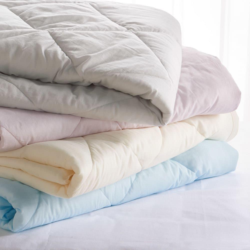 テンセルTM &ガーゼ寝具シリーズ 掛け布団 上から(エ)グレー(ウ)ロゼラベンダー(ア)生成り(イ)ブルー ※写真はコンフォーターです。
