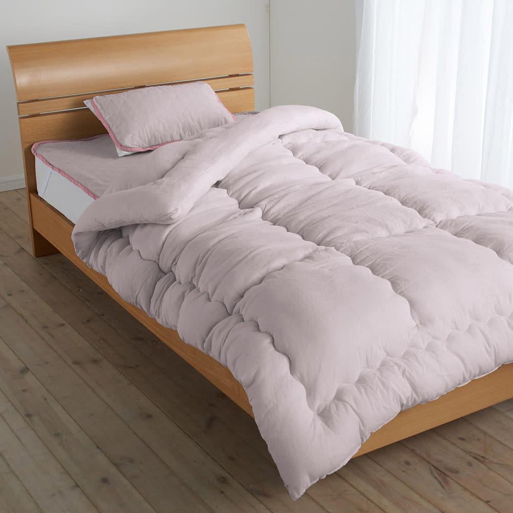 テンセルTM &ガーゼ寝具シリーズ 掛け布団 コーディネート例(ウ)ロゼラベンダー ※お届けは掛け布団です。