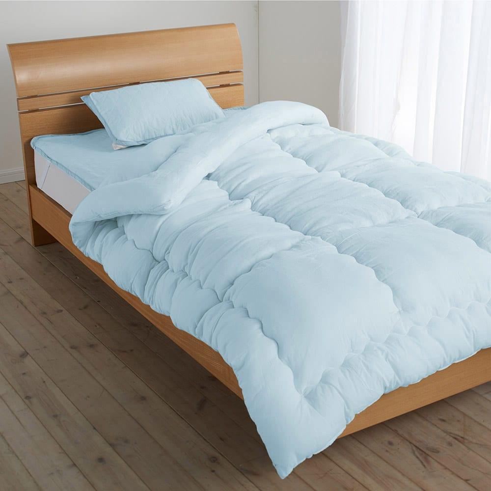 テンセルTM &ガーゼ寝具シリーズ お得な掛け敷きセット(掛け布団+敷きパッド+ピローパッド) (イ)ブルー