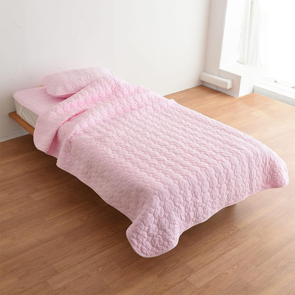 パシーマ(R)EXプラス 無地タイプ キルトケット(ヘム仕様) (ウ)ピンク ※写真はシングルサイズです。