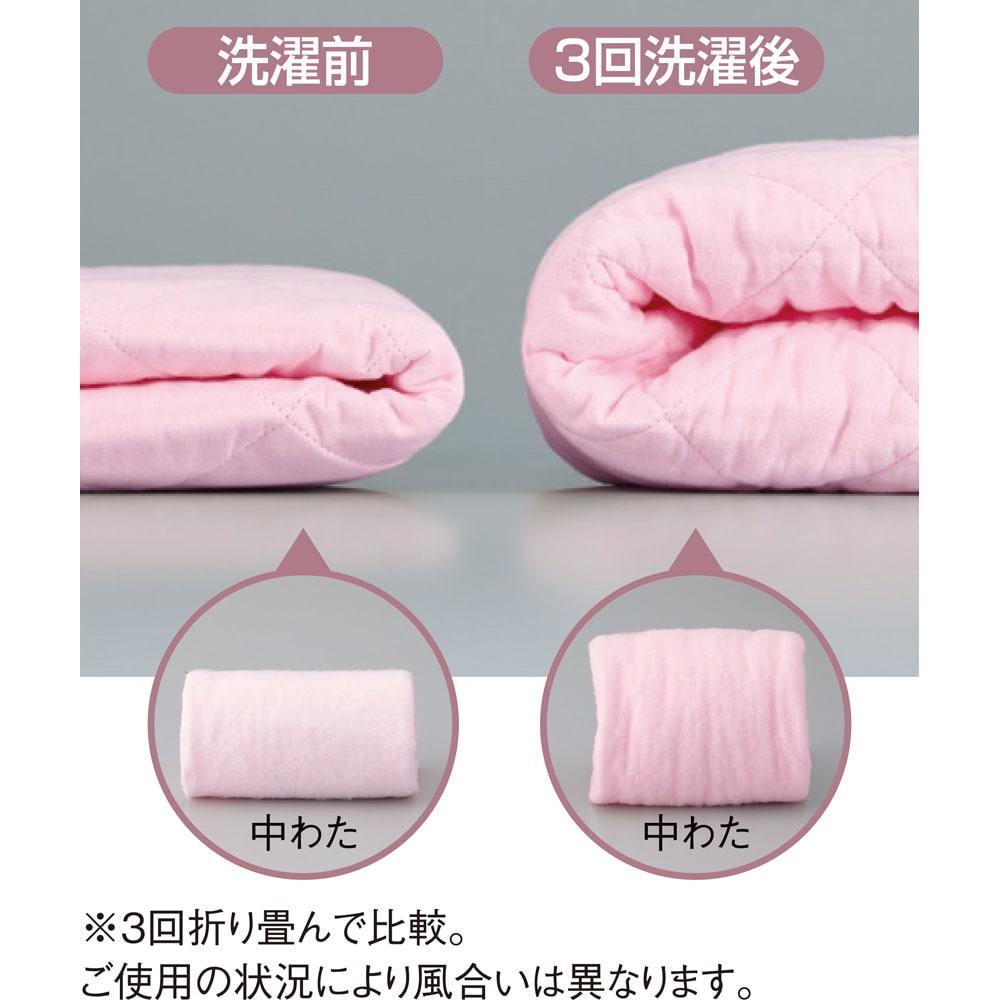 パシーマEX 先染めタイプ パッドシーツ 企業秘密の製法で、洗うほどにふっくら!※3回折り畳んで比較。ご使用の状況により風合いは異なります。