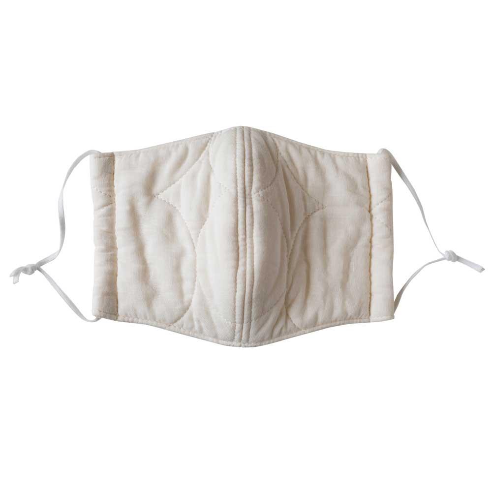 パシーマの生地でつくったマスク 子供用サイズ 2枚組 (出来上がり寸約7×13.5cm) (ア)アイボリー