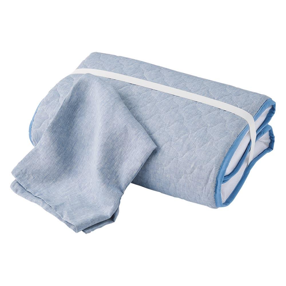 リネンごろ寝布団 カバー付き (イ)ブルー 専用カバー付きセット カバーはご家庭で洗濯できます。 ゴムバンド付き