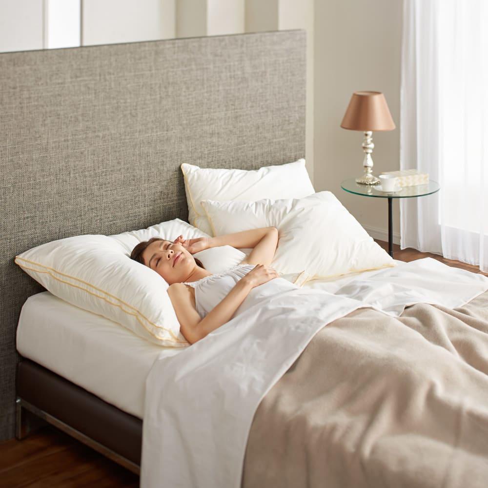 フィベールピロープレミアム 枕のみ 大判(1個) コーディネート例 ※写真はハーフボディサイズを使用しています。