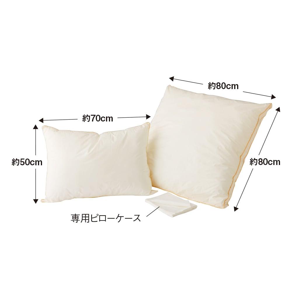 フィベールピロープレミアム 枕のみ ハーフボディ(お得な2個セット) ※写真は左から大判サイズ(50×70)、ハーフボディサイズ(80×80)です。お届けはハーフボディサイズです。