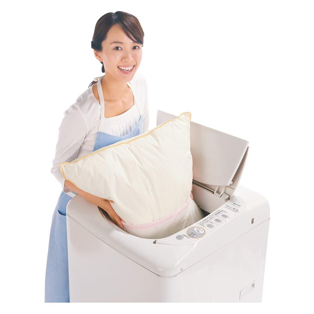フィベールピロープレミアム ピローケース付き 大判(1個) 洗濯機で洗えます!(ネット使用)