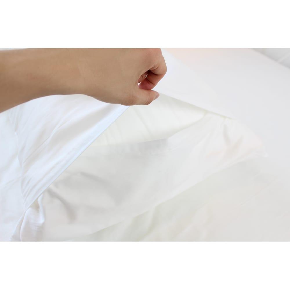 フィベールピロープレミアム 専用枕カバー 大判用(2枚組) 高級ホテルで主流のエンベロップタイプ(ファスナーがなく布地を折り込むタイプ)です。