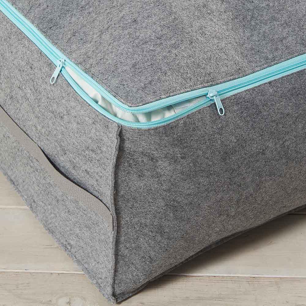 吸湿・消臭AirJob(R)布団収納袋 単品 小 開けやすいダブルファスナー。