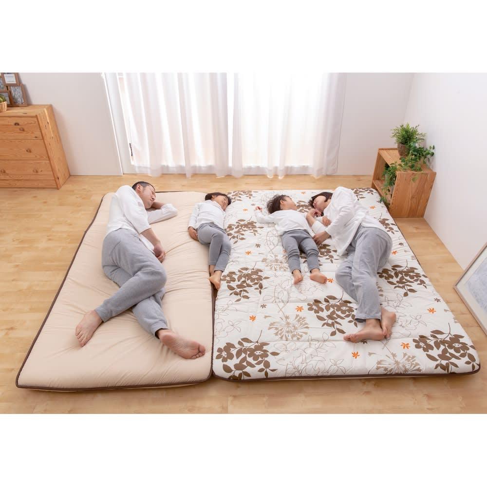 抗菌コンパクト&ワイド敷布団専用ふかふか敷き上層パッドのみ (After)一枚の布団で、家族が広々眠れます。 ※写真はファミリー240cmです。