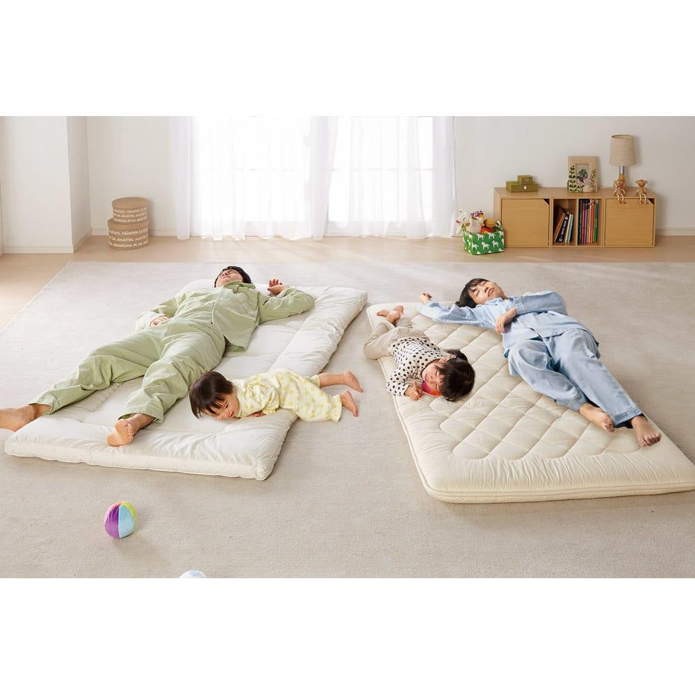 抗菌コンパクト&ワイド敷布団専用ふかふか敷き上層パッドのみ 敷布団がぐちゃぐちゃだと、溝にはまったり、布団から落ちてしまったり…。これだと、逆に身体が疲れちゃう。