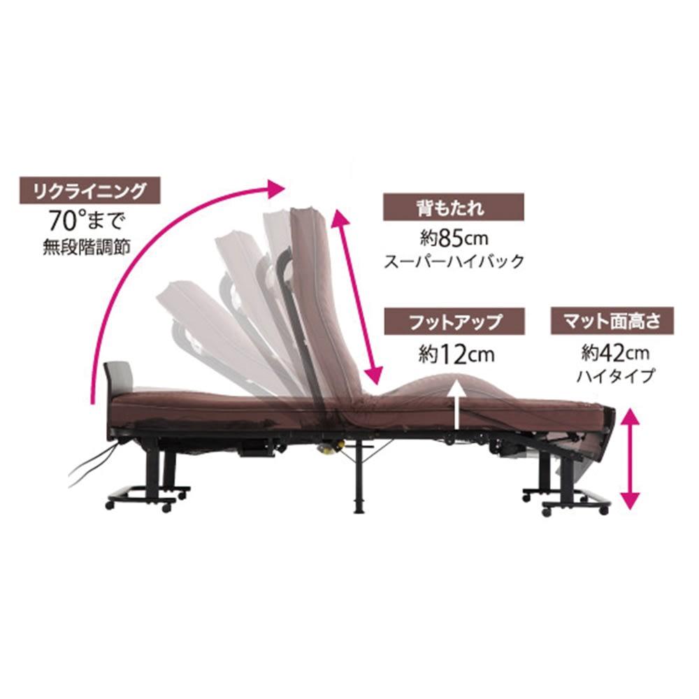 折りたたみ式電動リクライニングベッド カバーなし 【スムーズな起き上がりを優しくサポート】頭部をしっかりと支えながら、背部70度・脚部12度まで別々に無段階で調節できます。