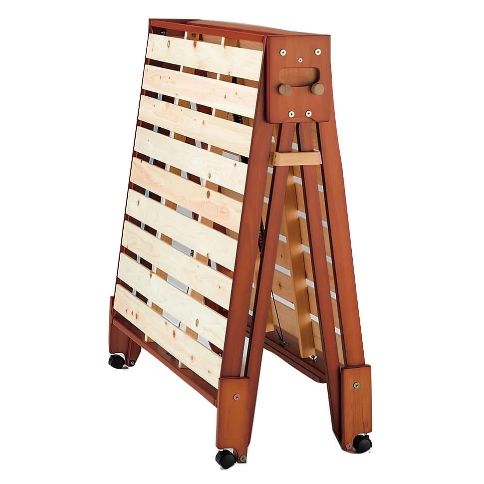 折りたたみ式ひのきすのこベッド ワイドシングル ストッパー使用時