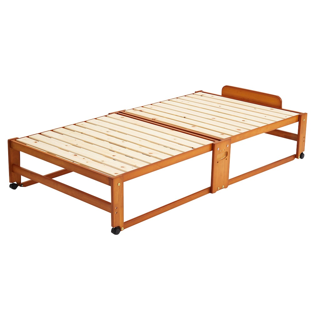 折りたたみ式ひのきすのこベッド シングルハイ (イ)ブラウン ※写真はワイドシングルハイタイプです。