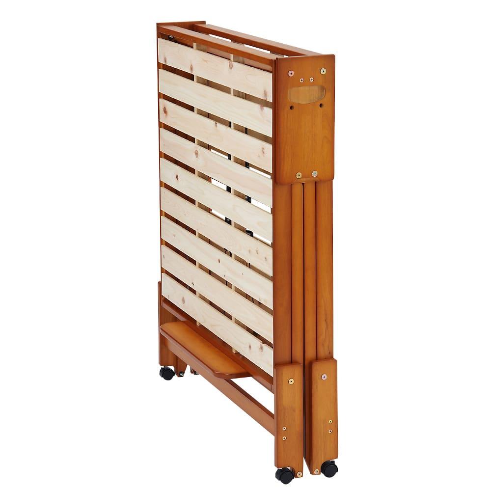 折りたたみ式ひのきすのこベッド ワイドシングルハイ ストッパー使用時