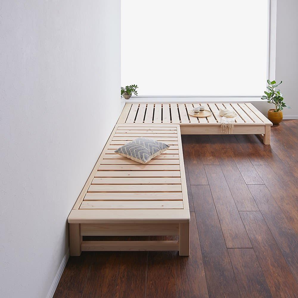 東濃檜 高さ調節すのこベッド 長さ180cm(幅80cm/幅98cm) 小上がりとしてもお使いいただけます。写真は使用例(幅80長さ180cmと幅98長さ200cmの組み合わせ例)